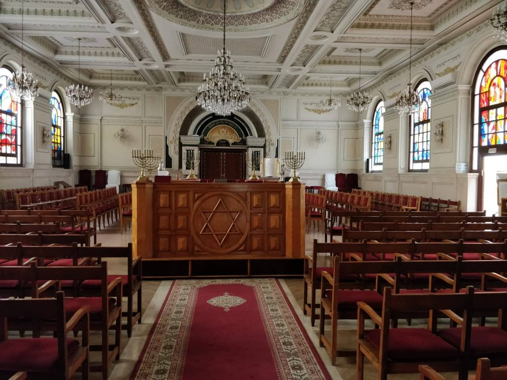 Interior of a synagogue in Casablanca.